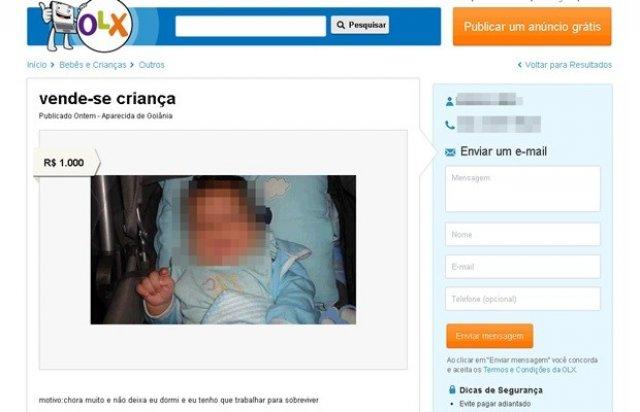 Sinal dos Tempos: Bebê é vendido por R$ 1 mil em anúncio na internet